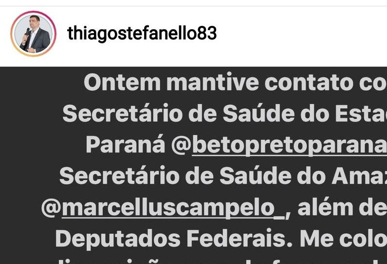 Secretário de Saúde de Cascavel se oferece como voluntário para ajudar Manaus.